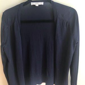 LOFT navy cotton cardigan